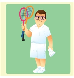 complete man is exercising plays badminton vector image vector image