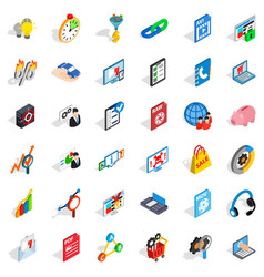 Data cloud icons set isometric style vector