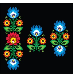 Folk embroidery with flowers - Polish pattern vector image