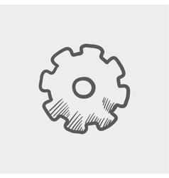 Gear sketch icon vector image