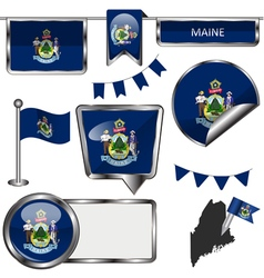 Glossy icons with Mainer flag vector image vector image