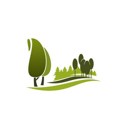 Green tree symbol of eco park city garden forest vector