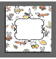 Greeting card template with autumn pattern and vector