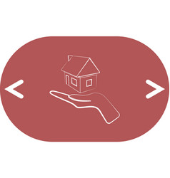 Home on the hand outline icon vector