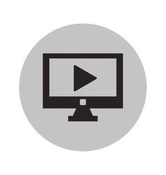 Isolated play inside computer design vector