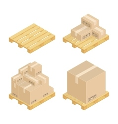 Isometric cardboard boxes and pallets vector image