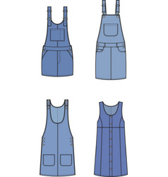 Jean overall dress set vector