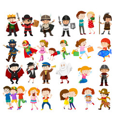 kids in different outfits vector image vector image