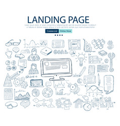 Landing page concept with business doodle design vector