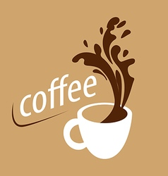 Logo cup of coffee and splashes vector