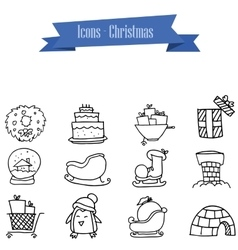 Object christmas icons vector