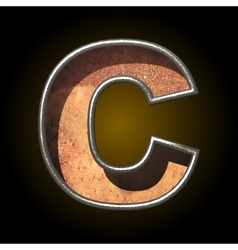 Old metal letter c vector