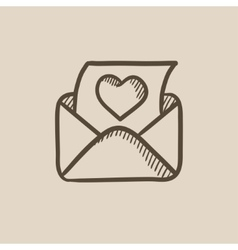 Open envelope with heart sketch icon vector