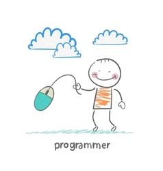 programmer holding a computer mouse vector image