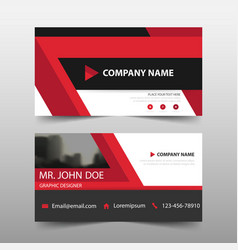 Red corporate business card name card template vector
