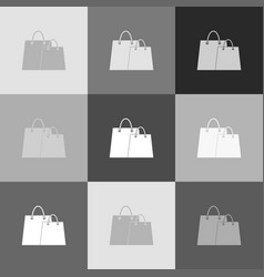 shopping bags sign grayscale version of vector image vector image