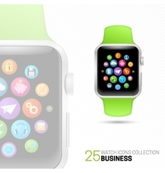 Smart watch with green wristband vector