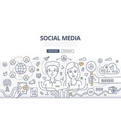 Social media doodle concept vector