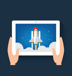 Spaceship or shuttle launch image on a on digital vector