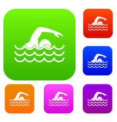 swimmer set collection vector image vector image