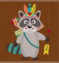 tribal raccoon on wooden background vector image vector image