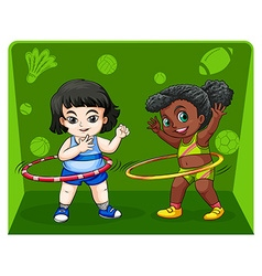 Two girls doing hulahoops vector