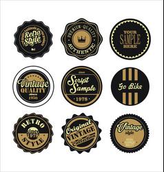 Vintage labels black and brown set 2 vector