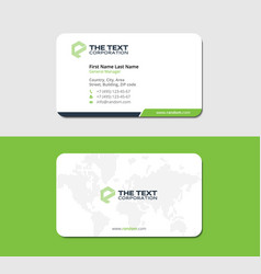 White and green business card with land map vector