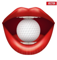 Womans open mouth with golf ball in lips vector image vector image