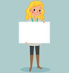 Young girl holding blank sign vector