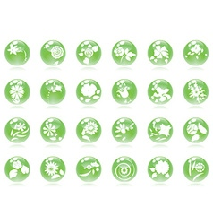 glossy buttons with floral vector image