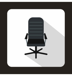 Black leather office chair icon flat style vector
