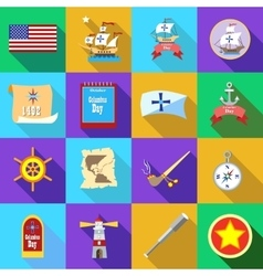 Columbus day icons set flatstyle vector