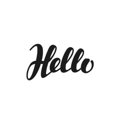 Hello inscription calligraphy hand drawn vector