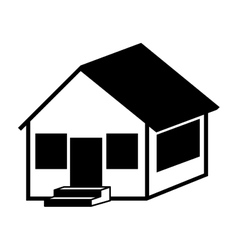 Silhouette with monochrome house side one floor vector
