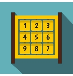 Yellow cubes with numbers on playground icon vector