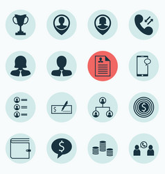 Set of 16 hr icons includes cellular data money vector