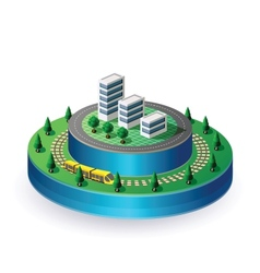 City on a round base vector