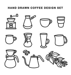 Hand drawn coffee design set vintage vector
