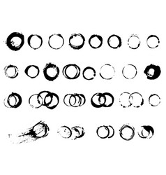 Prints from a circle cup ink brushes set vector