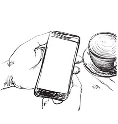 mobile phone in the hands cup of coffee vector image