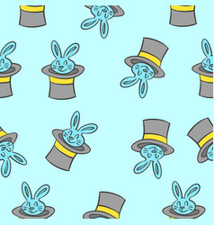 Rabbit and hat circus pattern style vector