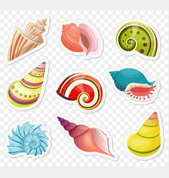 Cartoon sea shells stickers set on the vector