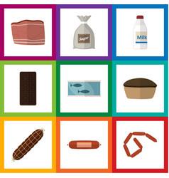 Flat icon meal set of kielbasa confection sack vector