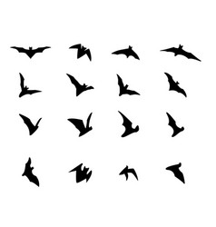 Set of flying bat silhouette icons vector