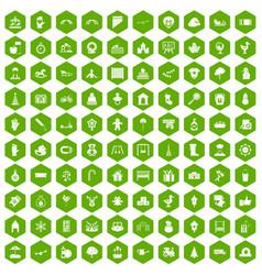 100 kindergarten icons hexagon green vector