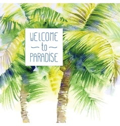 Template with watercolor palms vector