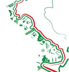 Italian map whit symbol vector