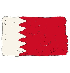 Flag of bahrain handmade vector