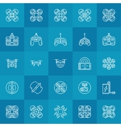 Drone or quadcopter icons set vector